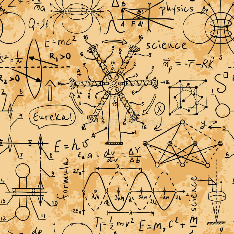 Fysieke formules, grafiek en wetenschappelijke berekeningen Terug naar School vector illustratie