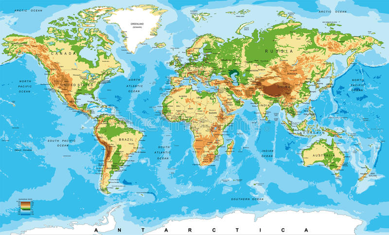 Fysieke kaart van de wereld royalty-vrije illustratie