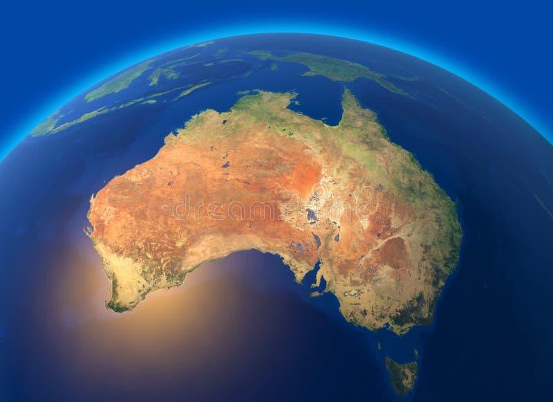 Fysieke kaart van de wereld, satellietmening van Australië oceanië Bol hemisfeer Hulp en oceanen vector illustratie
