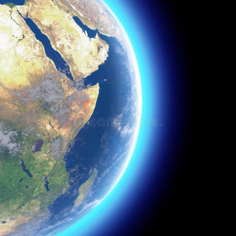 Fysieke kaart van de wereld, satellietmening van het Midden-Oosten Afrika, Azi? Bol hemisfeer Hulp en oceanen stock illustratie