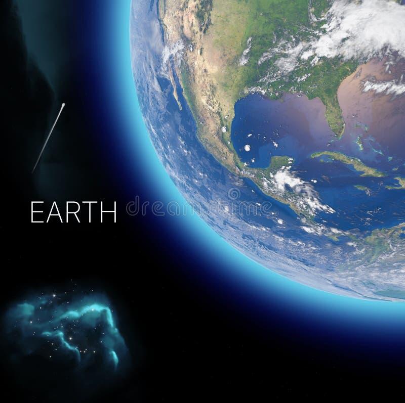 Fysieke kaart van de wereld, de satellietmening van het noorden en Midden-Amerika Bol hemisfeer Hulp en oceanen vector illustratie