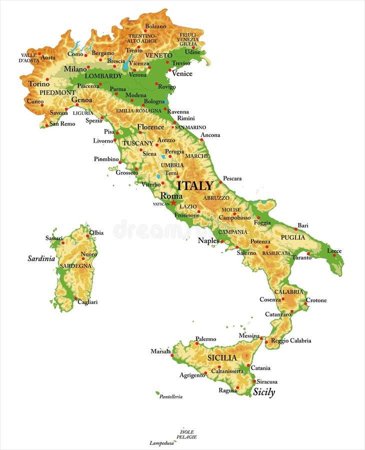 Fysieke kaart van Italië vector illustratie