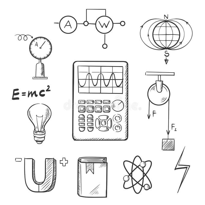 Fysik och mekaniker skissar symboler royaltyfri illustrationer