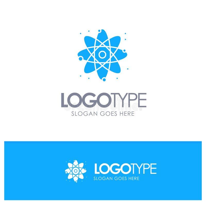 Fysik reagerar, den blåa fasta logoen för vetenskap med stället för tagline vektor illustrationer