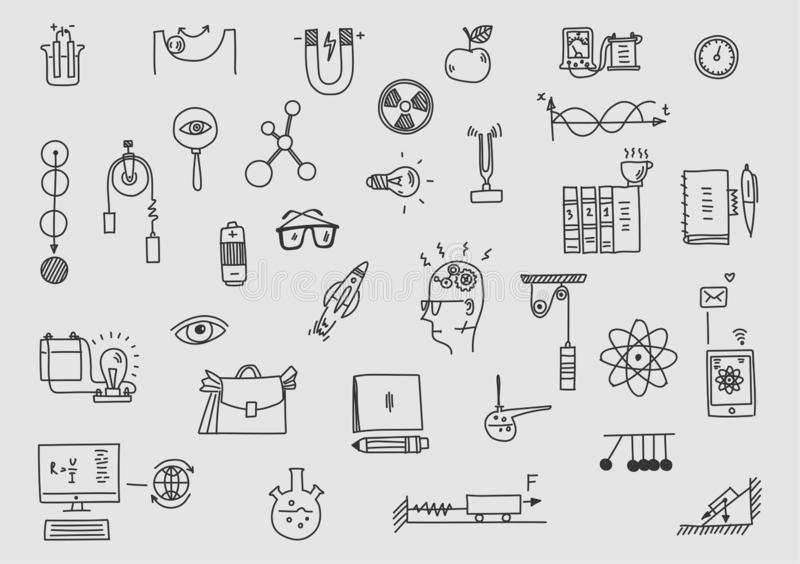 fysik Sclool utbildning och vetenskap Hand dragen vetenskaplig formelteorilag royaltyfri illustrationer