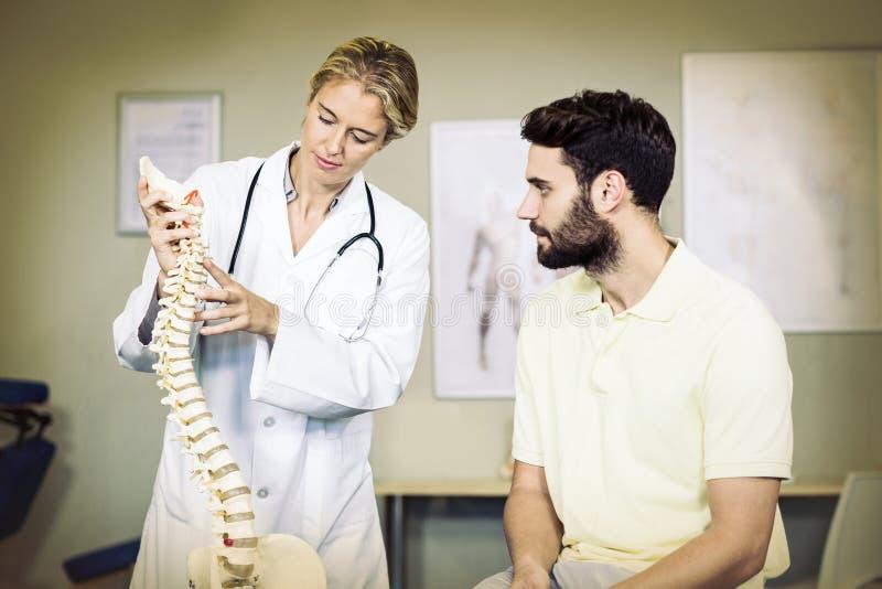 Fysioterapeut som förklarar inbindningsmodellen till patienten royaltyfri fotografi
