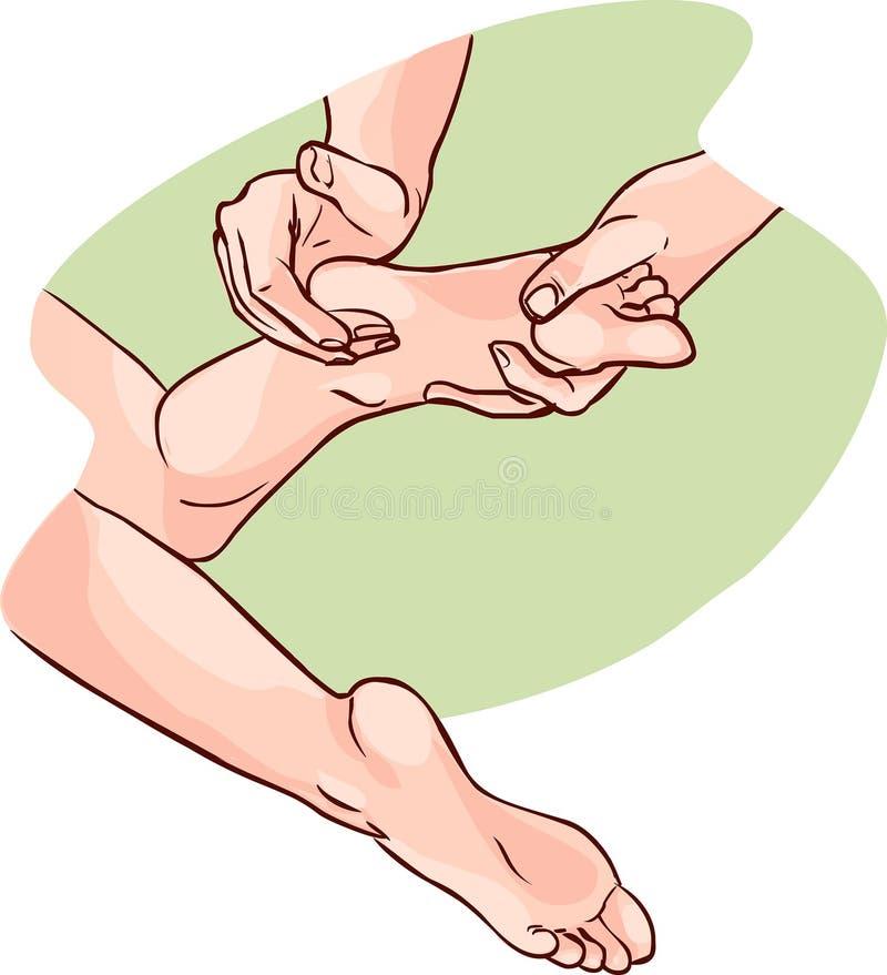 Fysiotherapeut die reflexology op geduldige voeten doen royalty-vrije illustratie