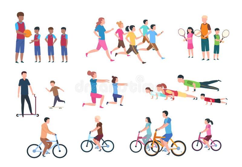 Fysische activiteit Mensen vlakke die fitness met ouders en kinderen in sportactiviteiten wordt geplaatst Geïsoleerdee vectorillu royalty-vrije illustratie