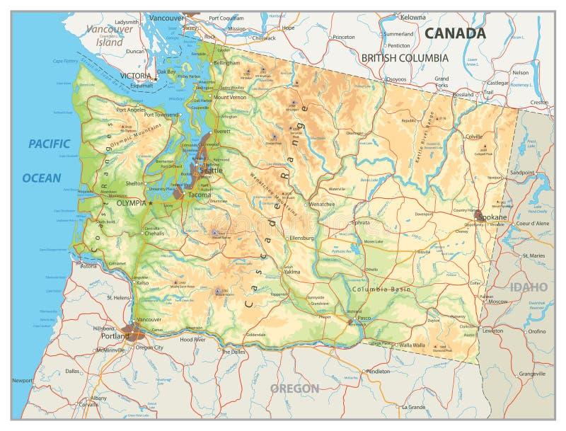 Fysisk översikt av staten Washington royaltyfri illustrationer