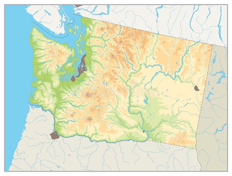 Fysisk översikt av staten Washington ingen text royaltyfri illustrationer