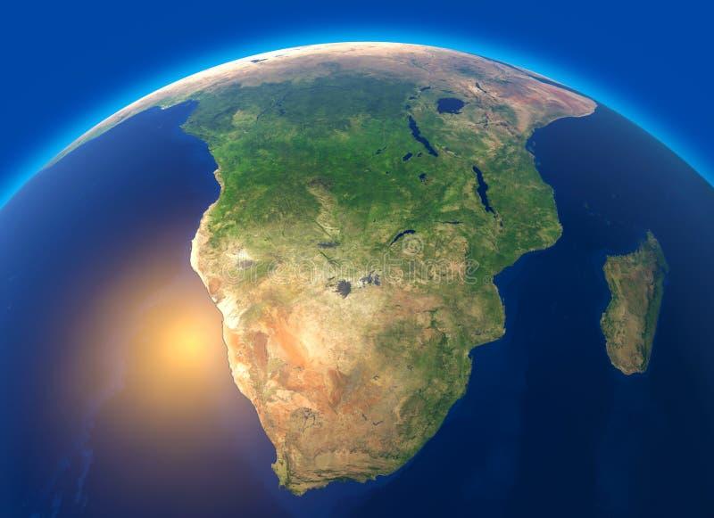 Fysisk översikt av världen, satellit- sikt av Sydafrika jordklot halvklot Lättnader och hav stock illustrationer