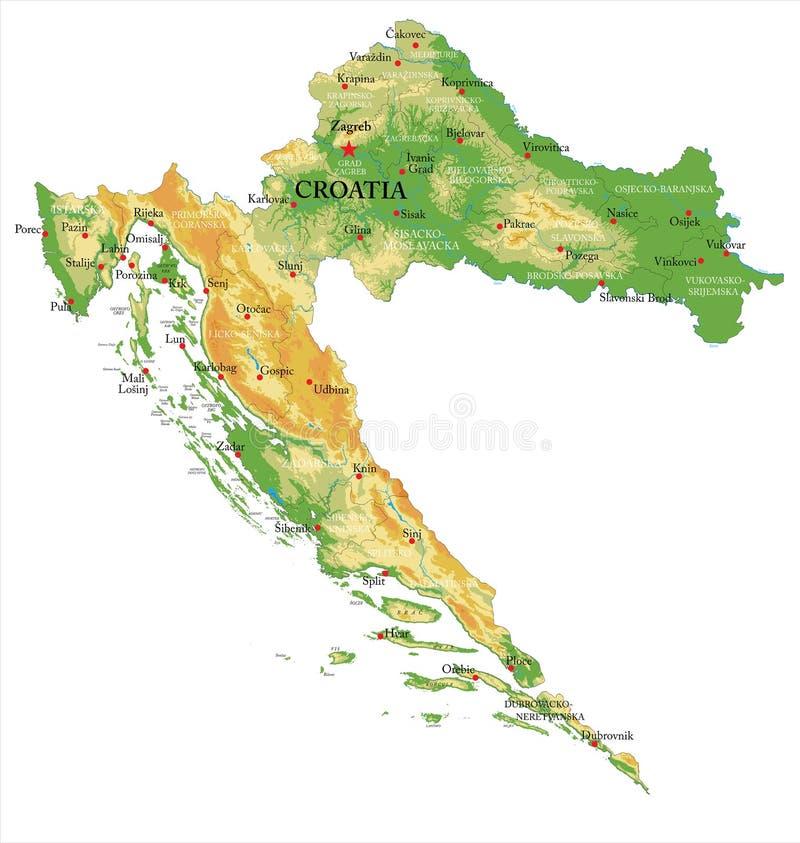 Fysisk översikt för Kroatien royaltyfri illustrationer