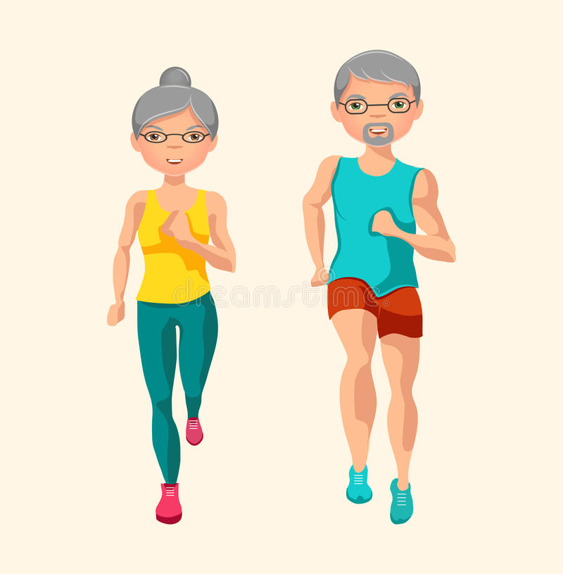 Fysisk aktivitet för pensionärer också vektor för coreldrawillustration stock illustrationer