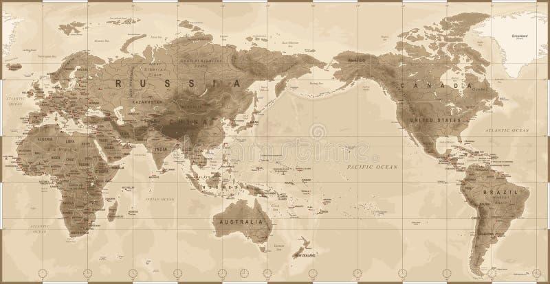 Fysisk tappning för världskarta - Asien i mitt - Kina, Korea, Japan royaltyfri illustrationer