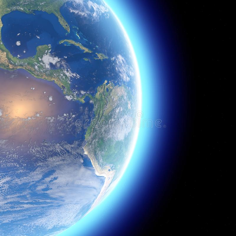 Fysisk ?versikt av v?rlden, satellit- sikt av Central America jordklot halvklot L?ttnader och hav royaltyfri illustrationer