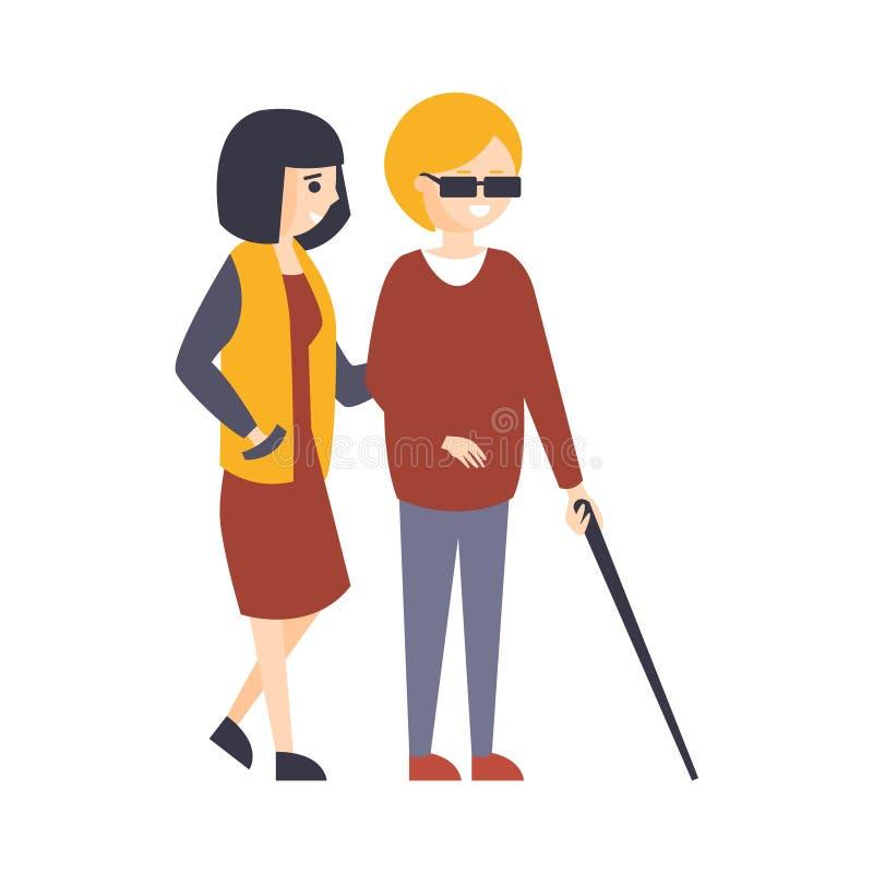 Fysiskt handikappade Person Living Full Happy Life med handikappillustrationen med att le den blinda kvinnan som går med vektor illustrationer