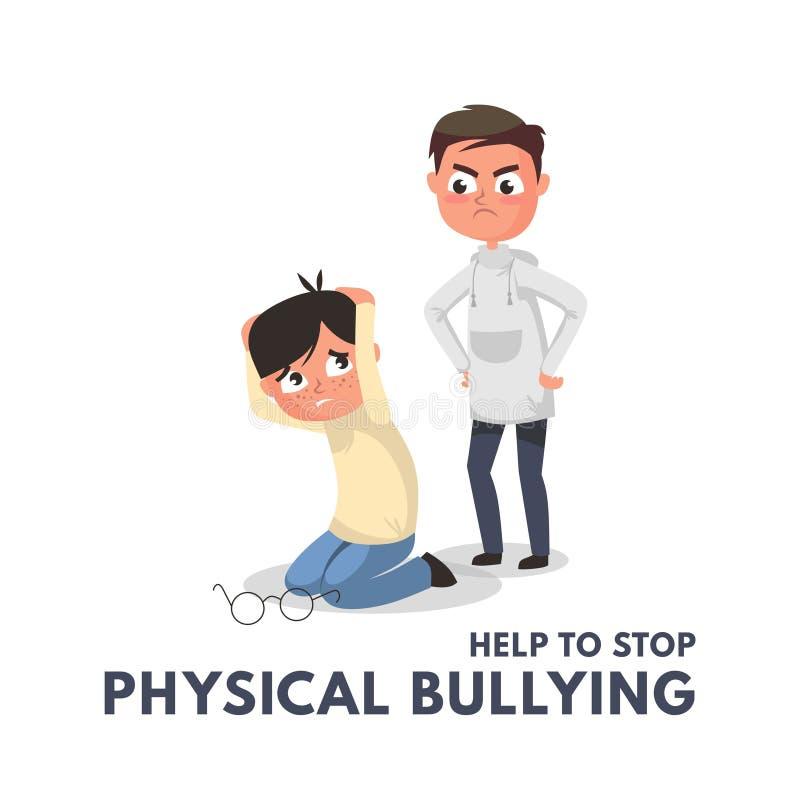 Fysiskt trakassera begrepp för stopp med den ilskna pojken Barn som trakasserar vektorillustrationen Fysisk pennalism på skola el vektor illustrationer