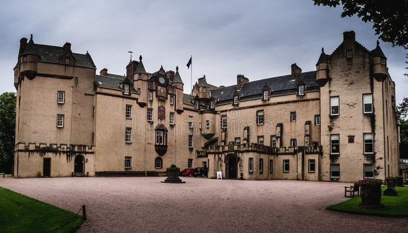 Fyvie Castle. ABERDEENSHIRE, SCOTLAND: JULY 25: Fyvie Castle on July 25, 2017 in Aberdeenshire Scotland. Fyvie Castle is said to be the finest baronial castle in stock images
