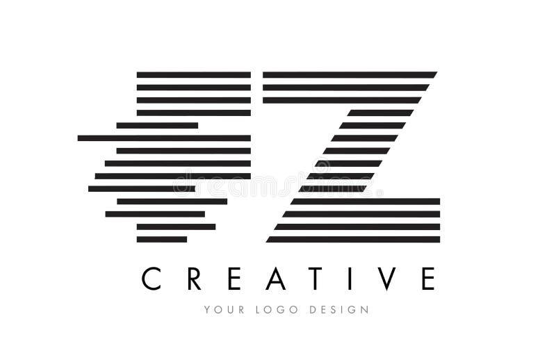 FZ F Z Zebra Letter Logo Design with Black and White Stripes royalty free illustration