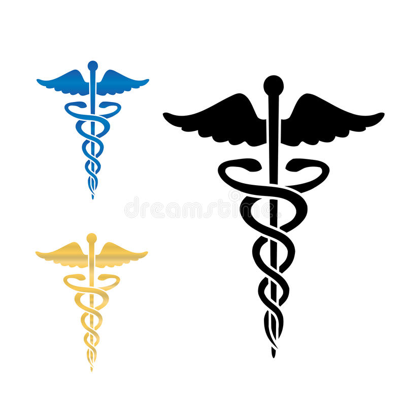 För symbolvektor för Caduceus medicinsk illustration. stock illustrationer