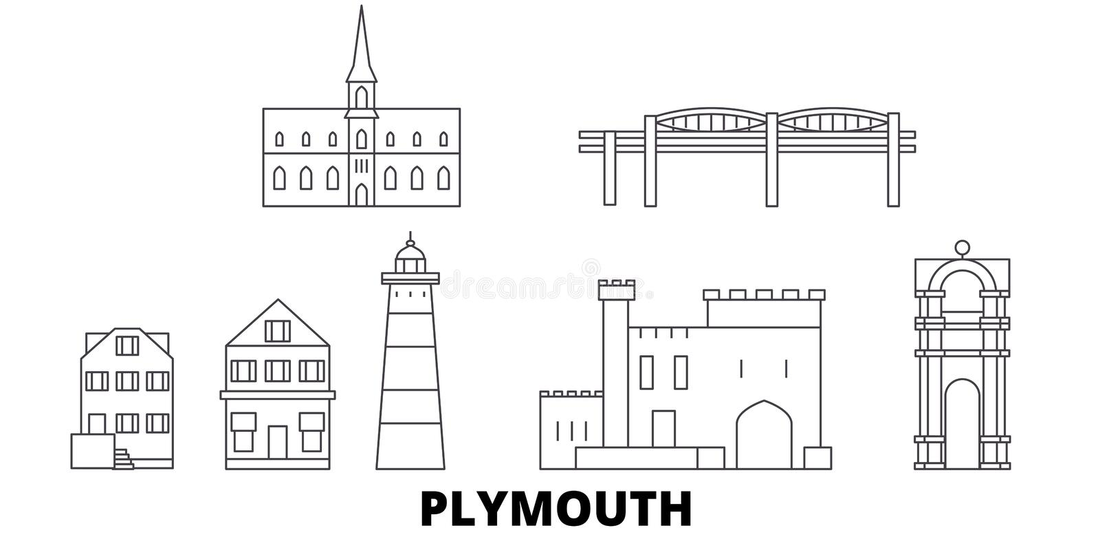 Förenade kungariket Plymouth linje lopphorisontuppsättning Förenade kungariket illustration för vektor för Plymouth översiktsstad vektor illustrationer