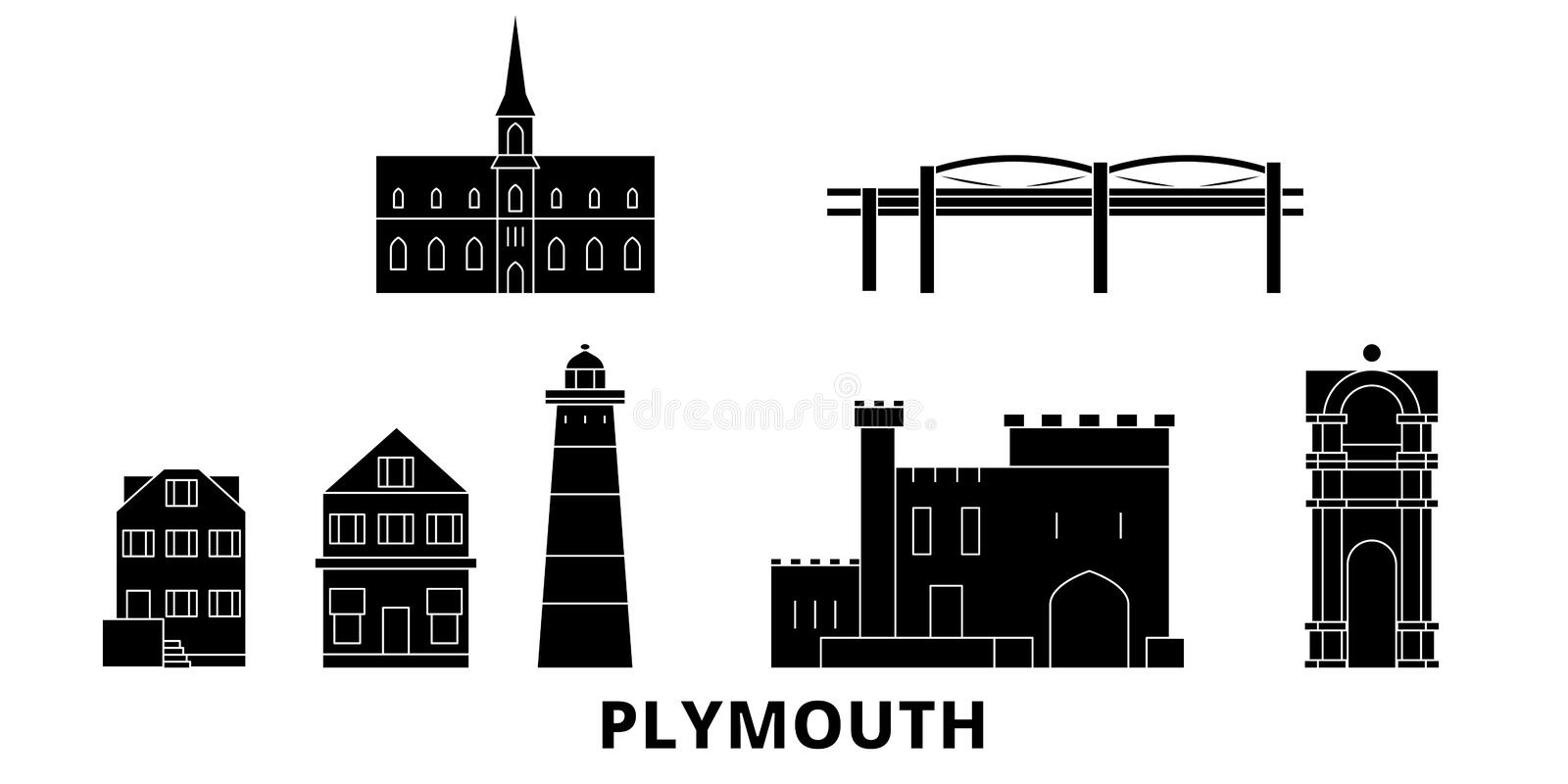 Förenade kungariket uppsättning för Plymouth plan lopphorisont Förenade kungariket illustration för vektor för Plymouth svartstad vektor illustrationer