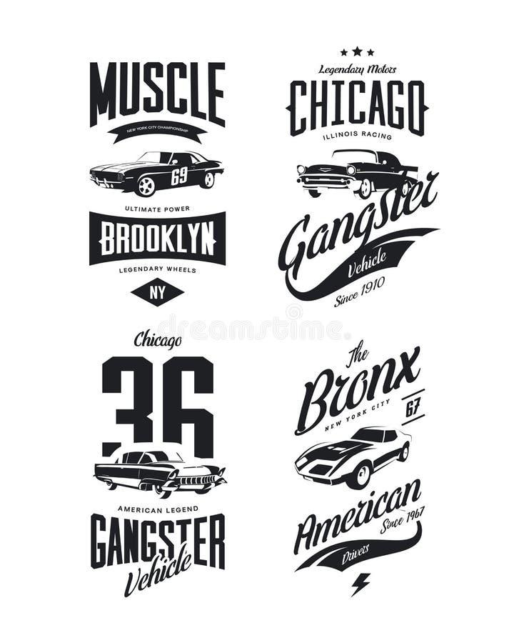 Gángster clásico del vintage, sistema aislado logotipo de la camiseta del vector del coche del músculo libre illustration