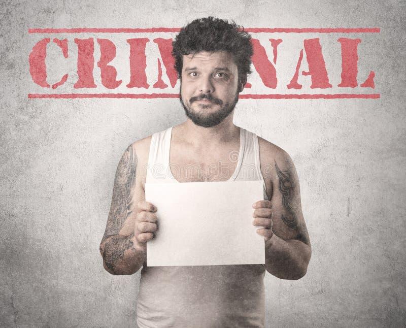 Gángster cogido en cárcel foto de archivo