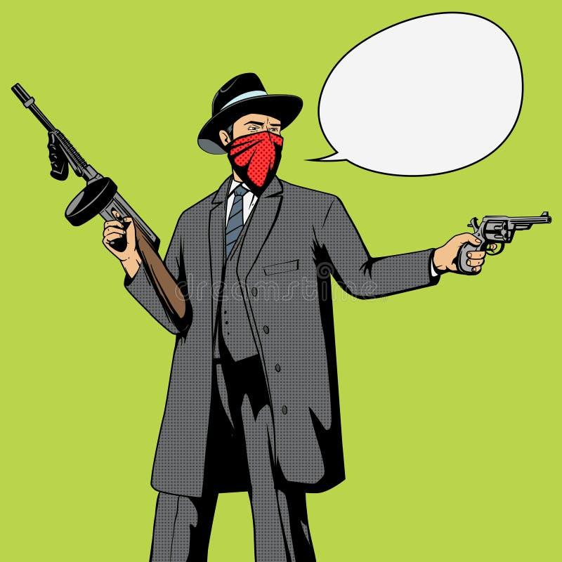 Gángster con vector del arte pop del robo del arma libre illustration