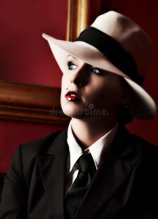 Gángster de la hembra de la vendimia imagen de archivo