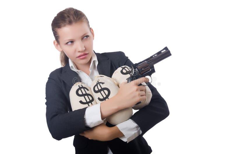Gángster de la mujer con el arma imagen de archivo