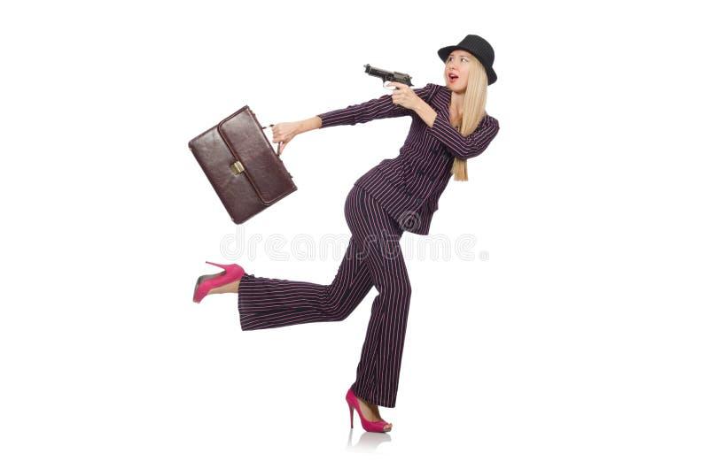 Gángster de la mujer con el arma imagen de archivo libre de regalías