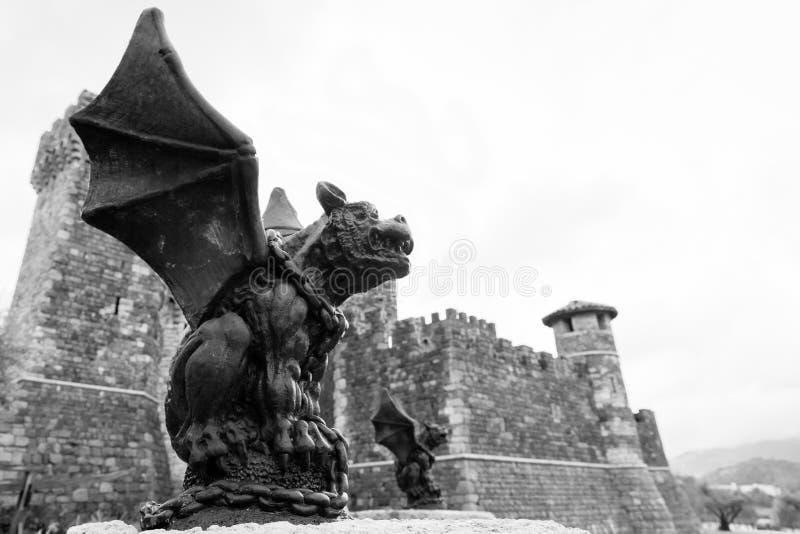 Gárgola y castillo en blanco y negro imagen de archivo