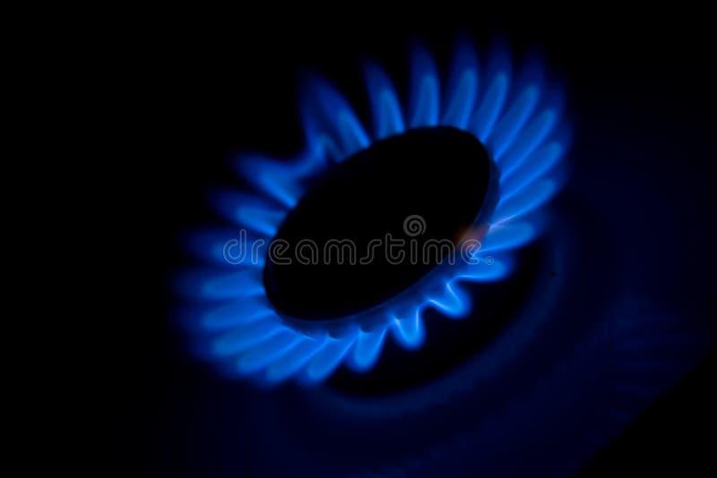 Gás ardente do forno da cozinha foto de stock royalty free
