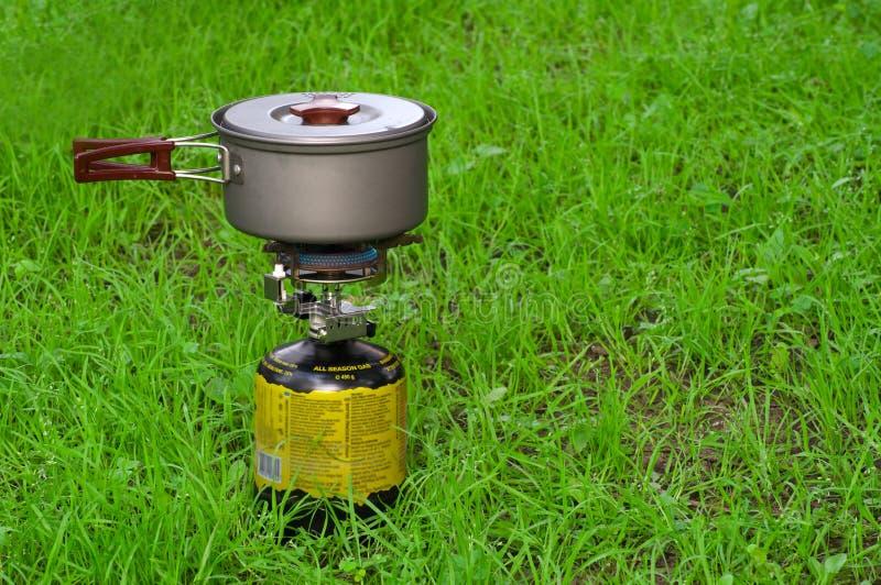 Gás-fogão de acampamento fotos de stock