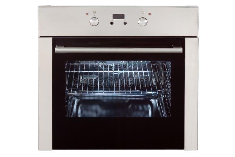 Gás incorporado Oven Isolated no fundo branco Front View do forno de aço inoxidável com uma gaveta de aquecimento da Grande-capac foto de stock royalty free