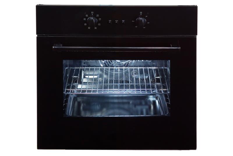 Gás incorporado Oven Isolated no fundo branco Front View do forno de aço inoxidável com uma gaveta de aquecimento da Grande-capac fotos de stock