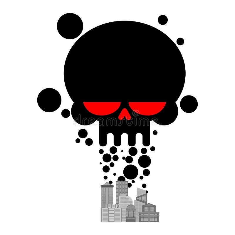 Gáss de exaustão da cidade Crânio preto do fumo Pollut ambiental ilustração do vetor