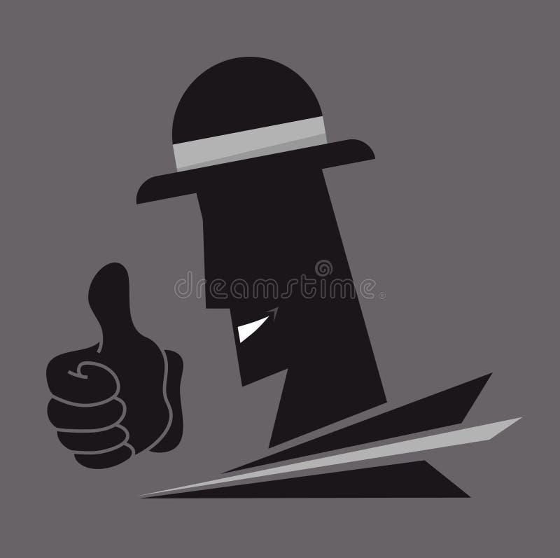 Gângster do chapéu ilustração do vetor