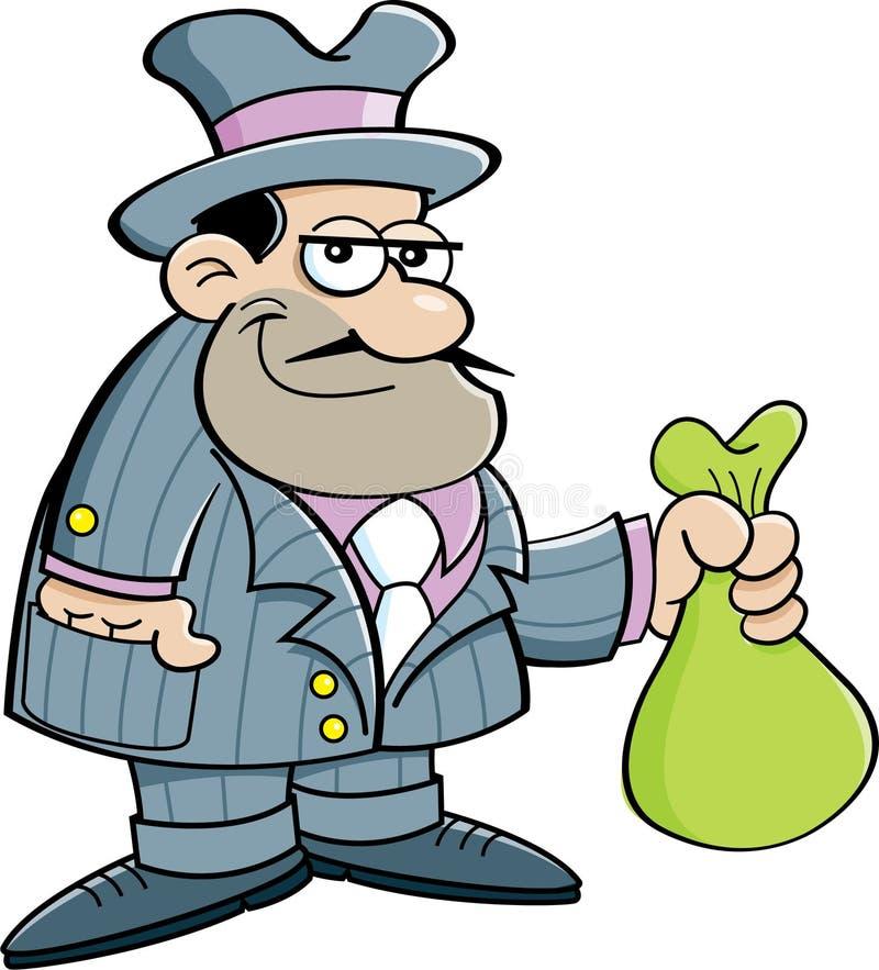 Gângster dos desenhos animados que guarda um saco ilustração royalty free