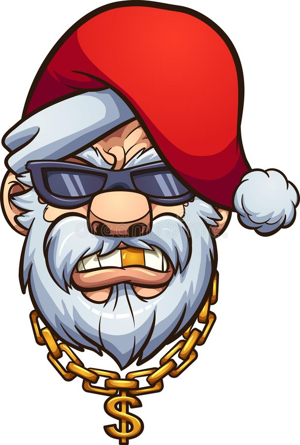 Gângster Santa Claus com um dente dourado e uma corrente dourada ilustração stock
