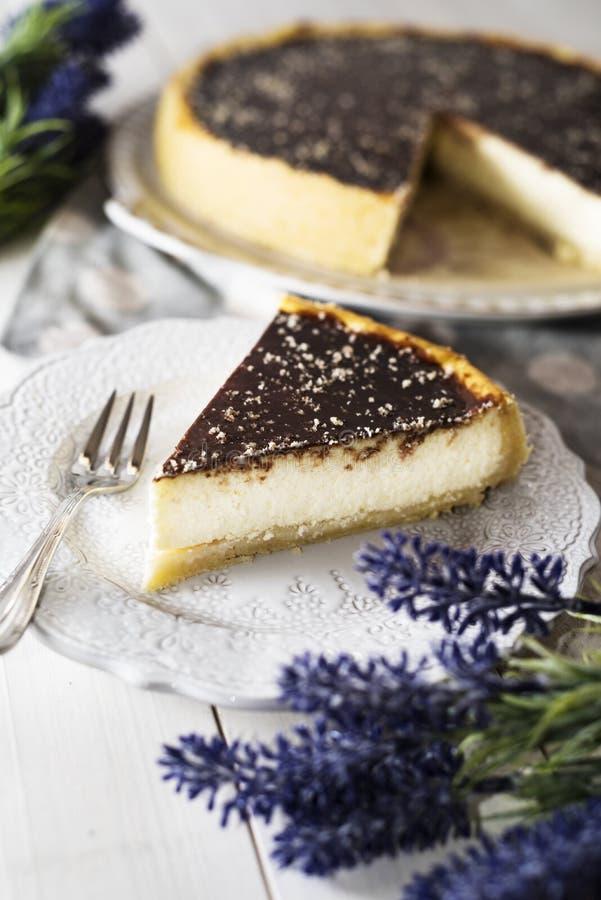 Gâteau au fromage avec le lustre de chocolat images libres de droits
