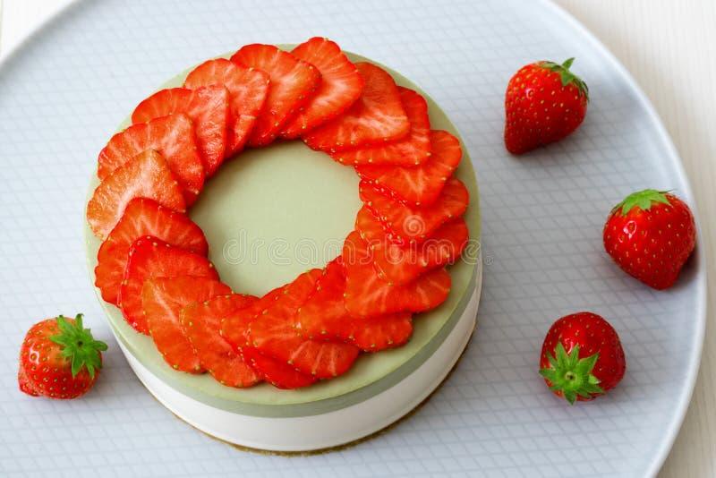 Gâteau au fromage de fruit  Cuisson de la démo image libre de droits