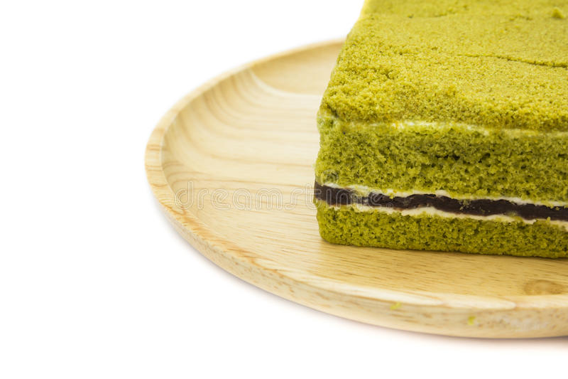 Gâteau au fromage de gâteau de thé vert de Matcha de Japonais de plan rapproché image stock