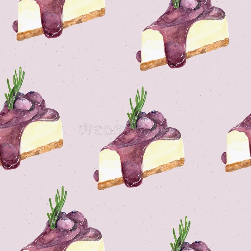 Gâteau au fromage de myrtille, style d'aquarelle d'aspiration de main vecteur sans joint de configuration illustration stock