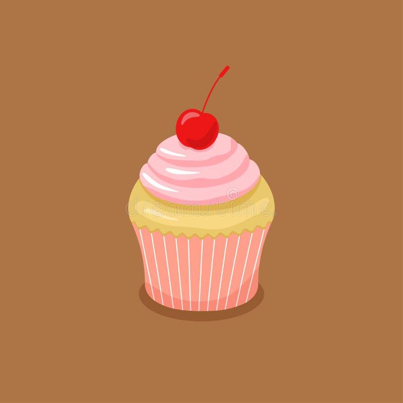Gâteau avec de la crème et la cerise roses illustration de vecteur