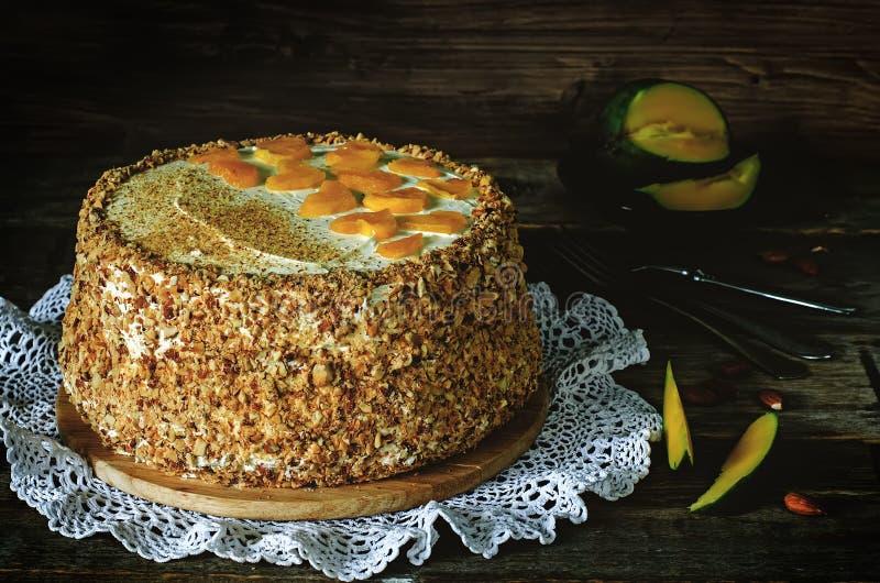 Download Gâteau Avec Des Amandes ; Crème, Gâteau Au Fromage Et Mangue Caramélisée Image stock - Image du célébrez, foncé: 45356493