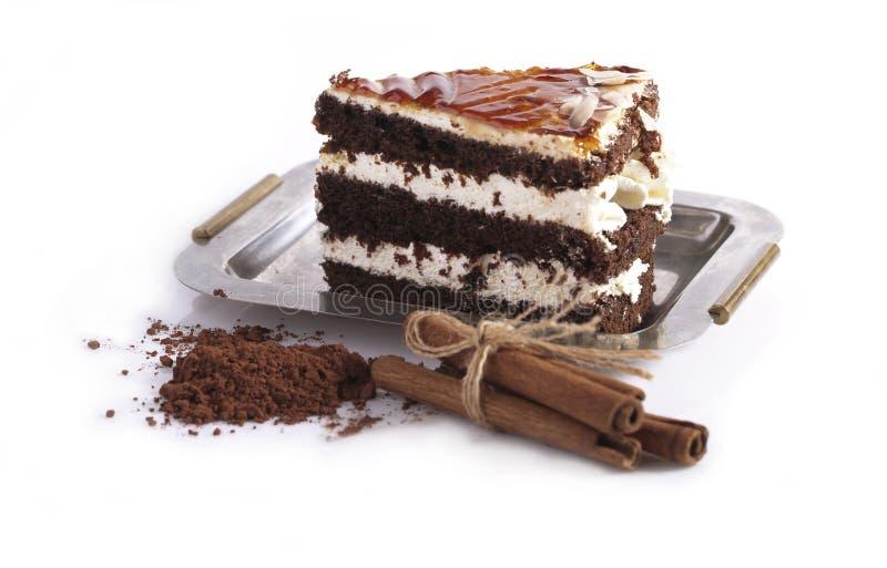 Gâteau avec du cacao image libre de droits