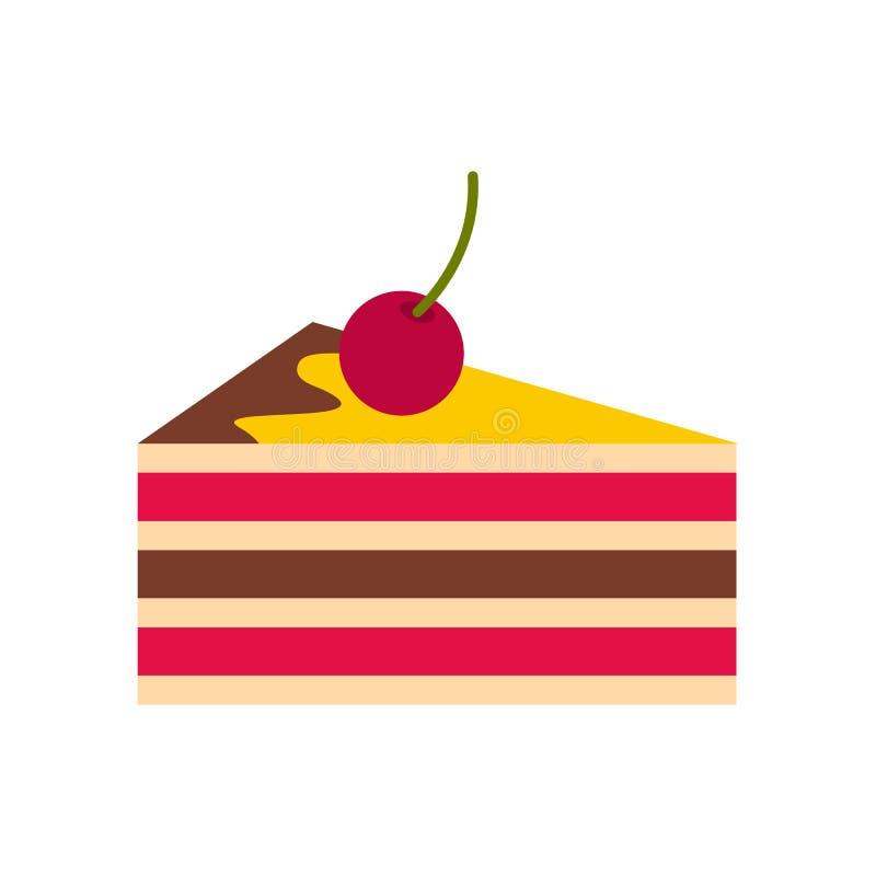 Gâteau avec l'icône de cerises, style plat illustration libre de droits