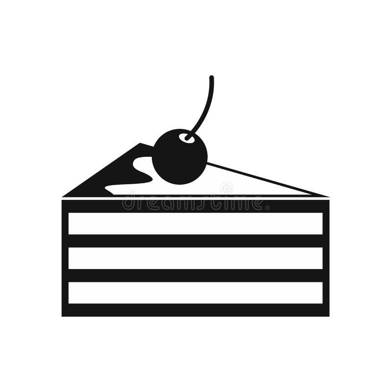 Gâteau avec l'icône de cerises, style simple illustration stock